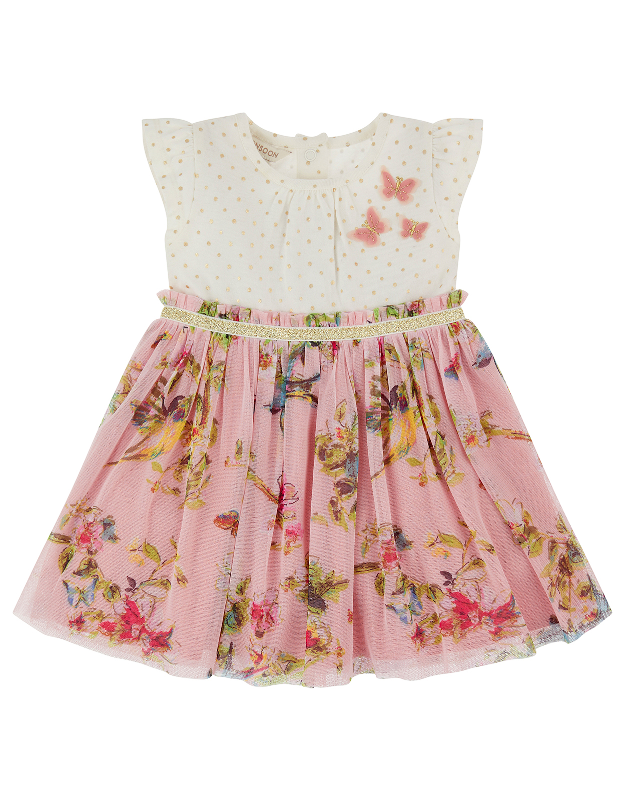 Monsoon Newborn Baby Hummingbird 2 in 1 Dress