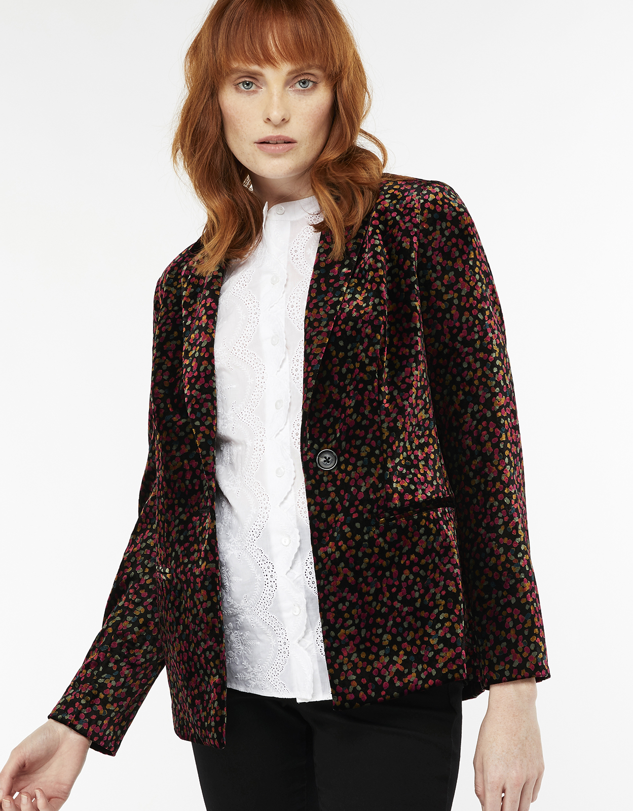 Monsoon Cora Printed Velvet Jacket