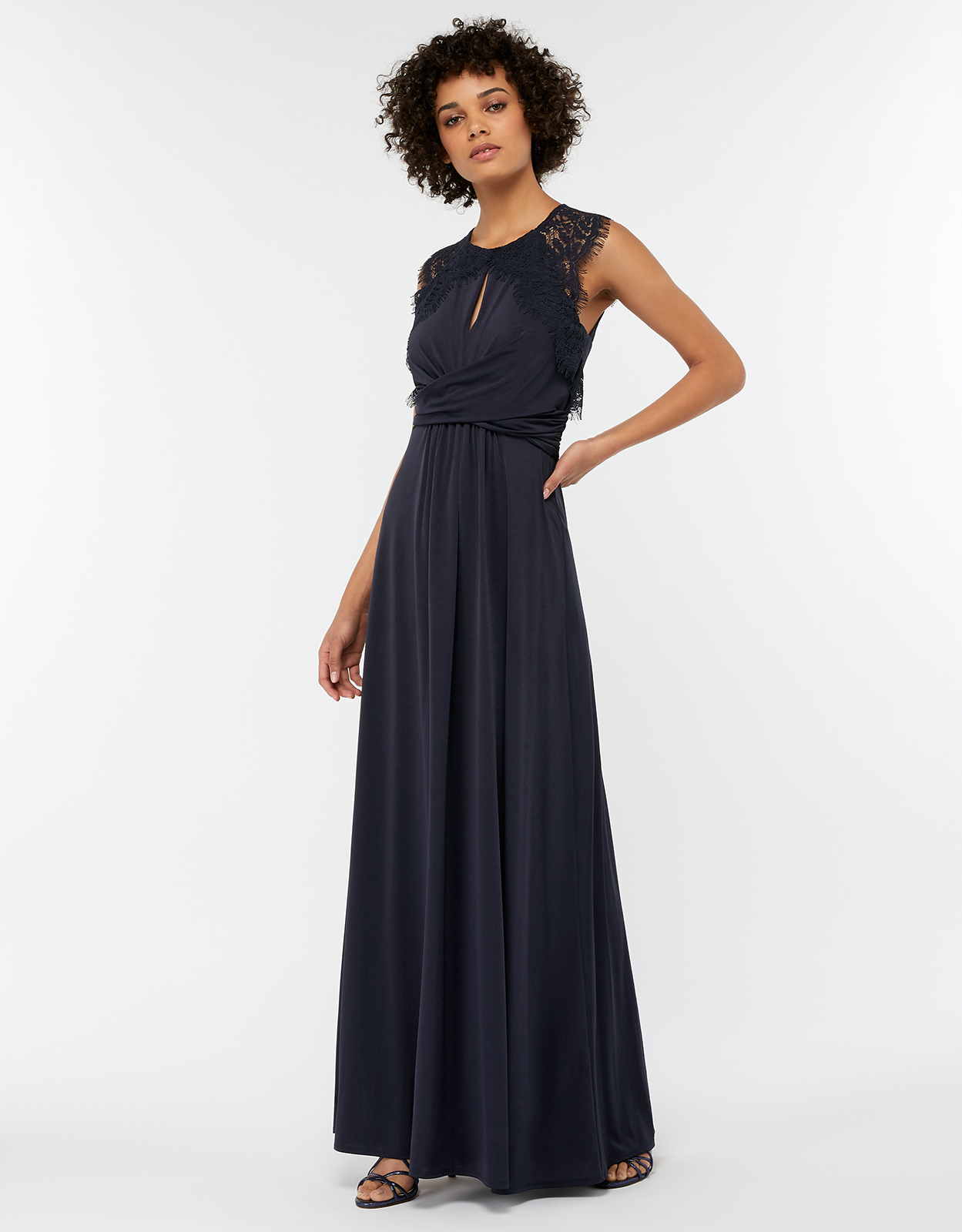 Monsoon Yasmeen Lace Jersey Maxi Bridesmaid Dress
