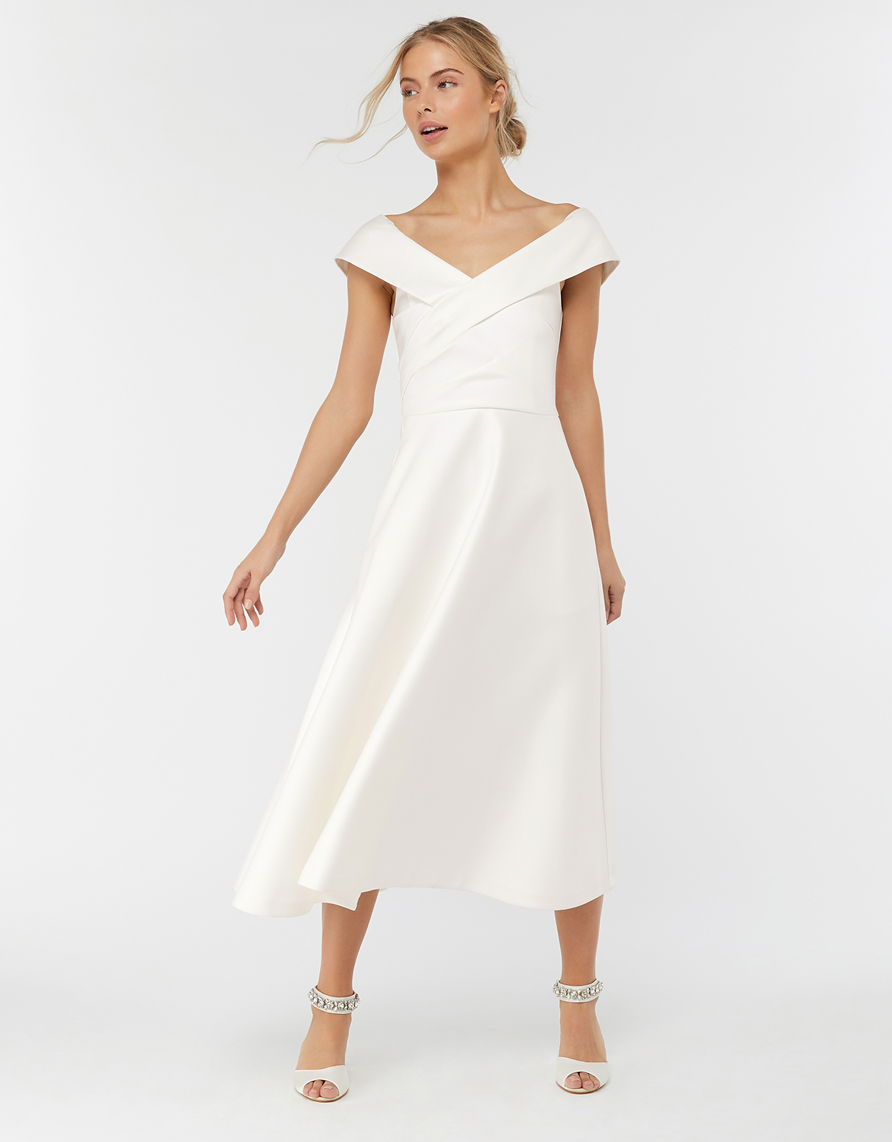 Monsoon Grace Bardot Midi Wedding Dress
