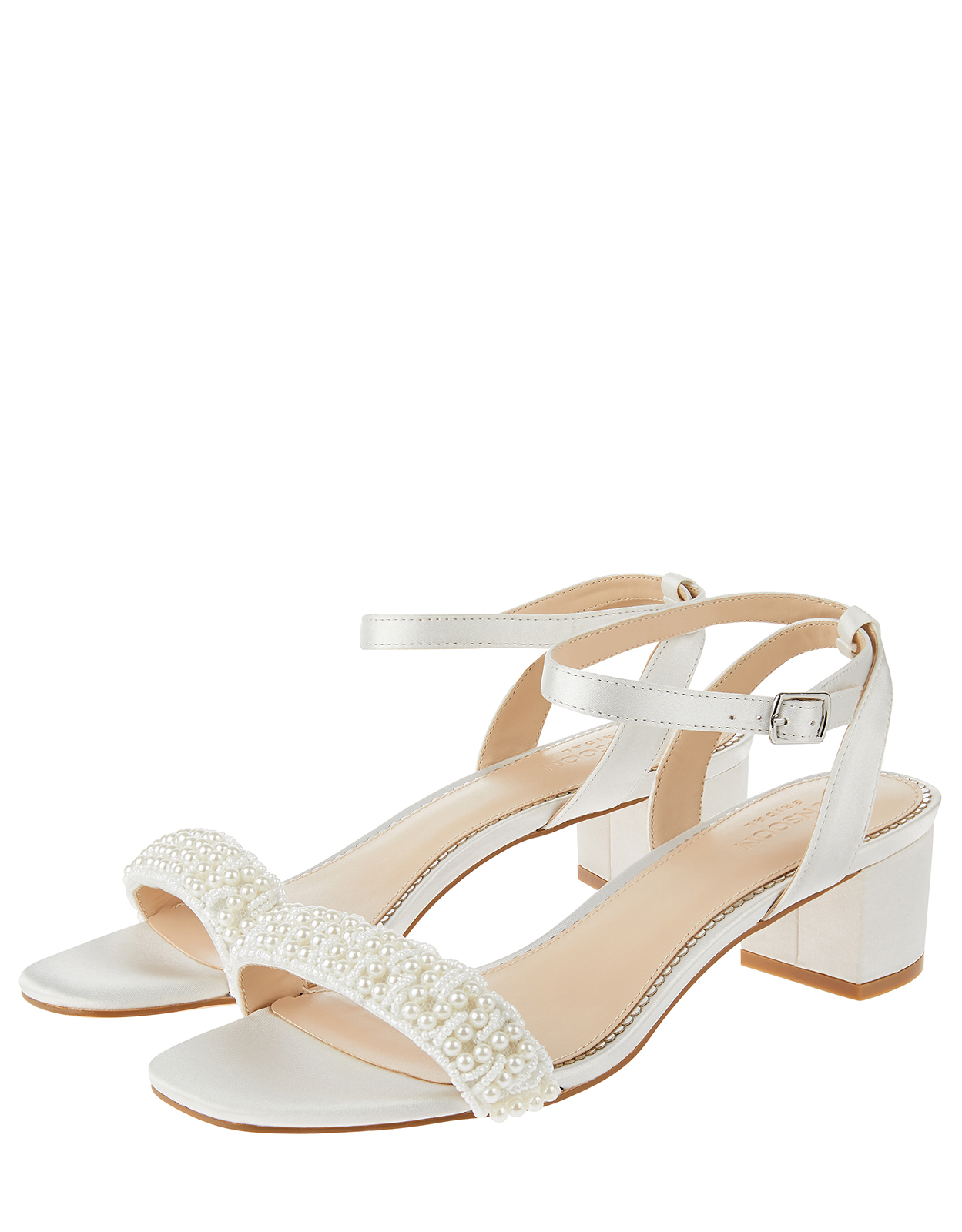 Monsoon Laurel Pearl Low Block Heel Sandals