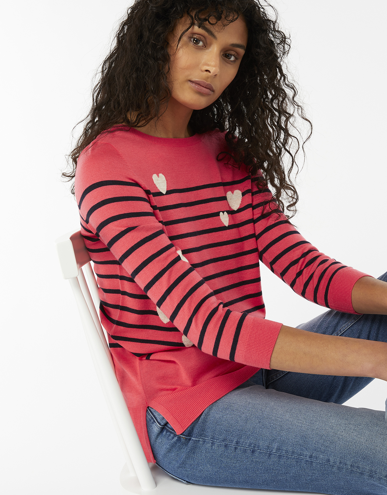 Monsoon Sara Stripe Hearts Jumper