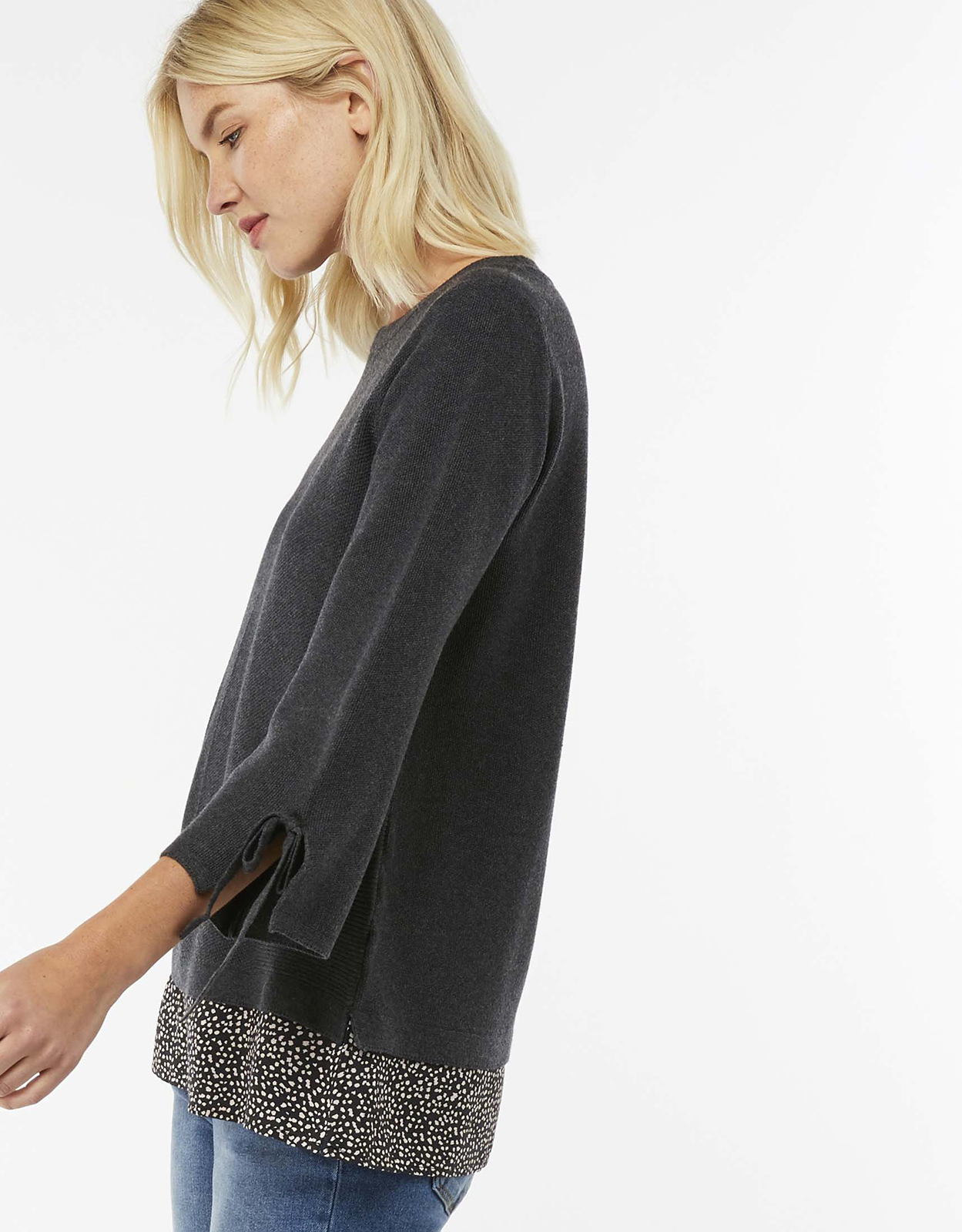Monsoon Polly Printed Woven Hem Jumper