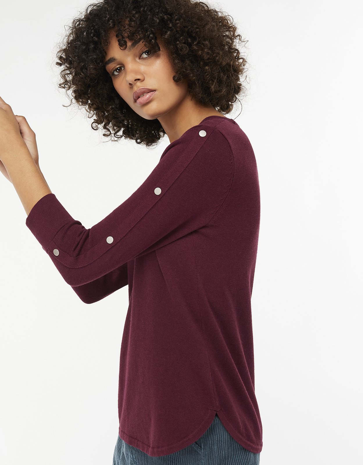 Monsoon Blair Button Sleeve Jumper