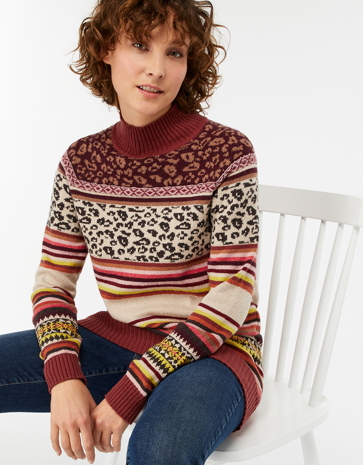 Monsoon Anika Animal Print Fair Isle Jumper