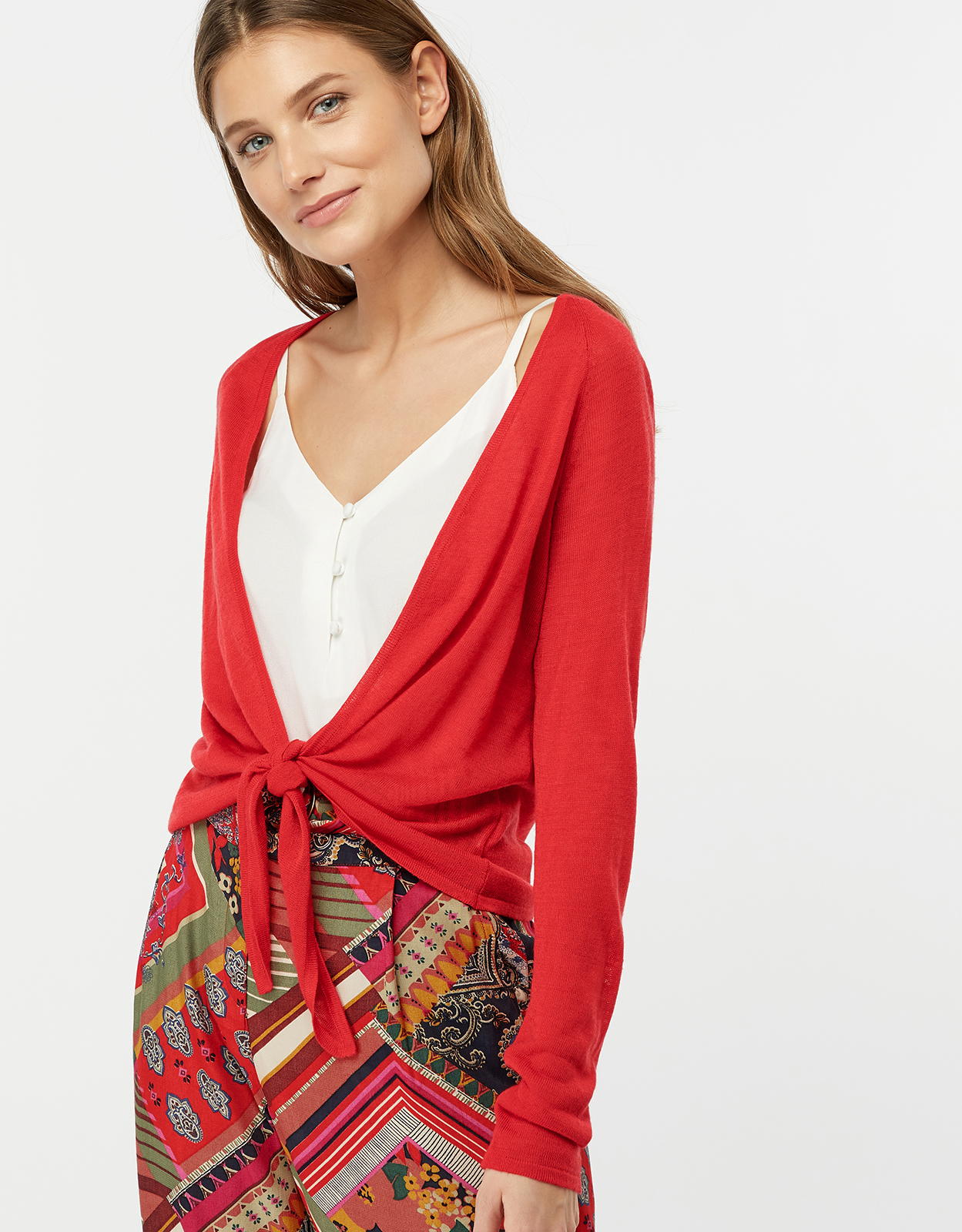 Monsoon Lizzie Linen Blend Tie Front Shrug