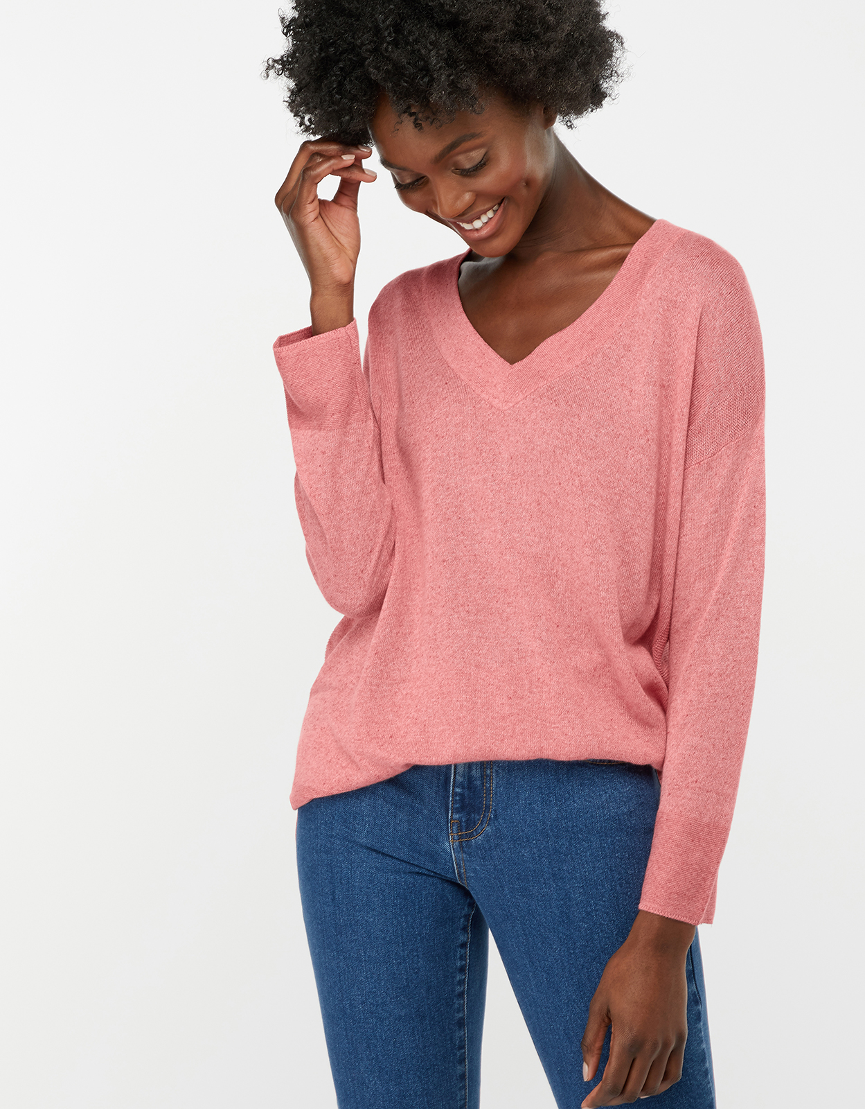 Monsoon Valencia V Neck Linen Blend Jumper
