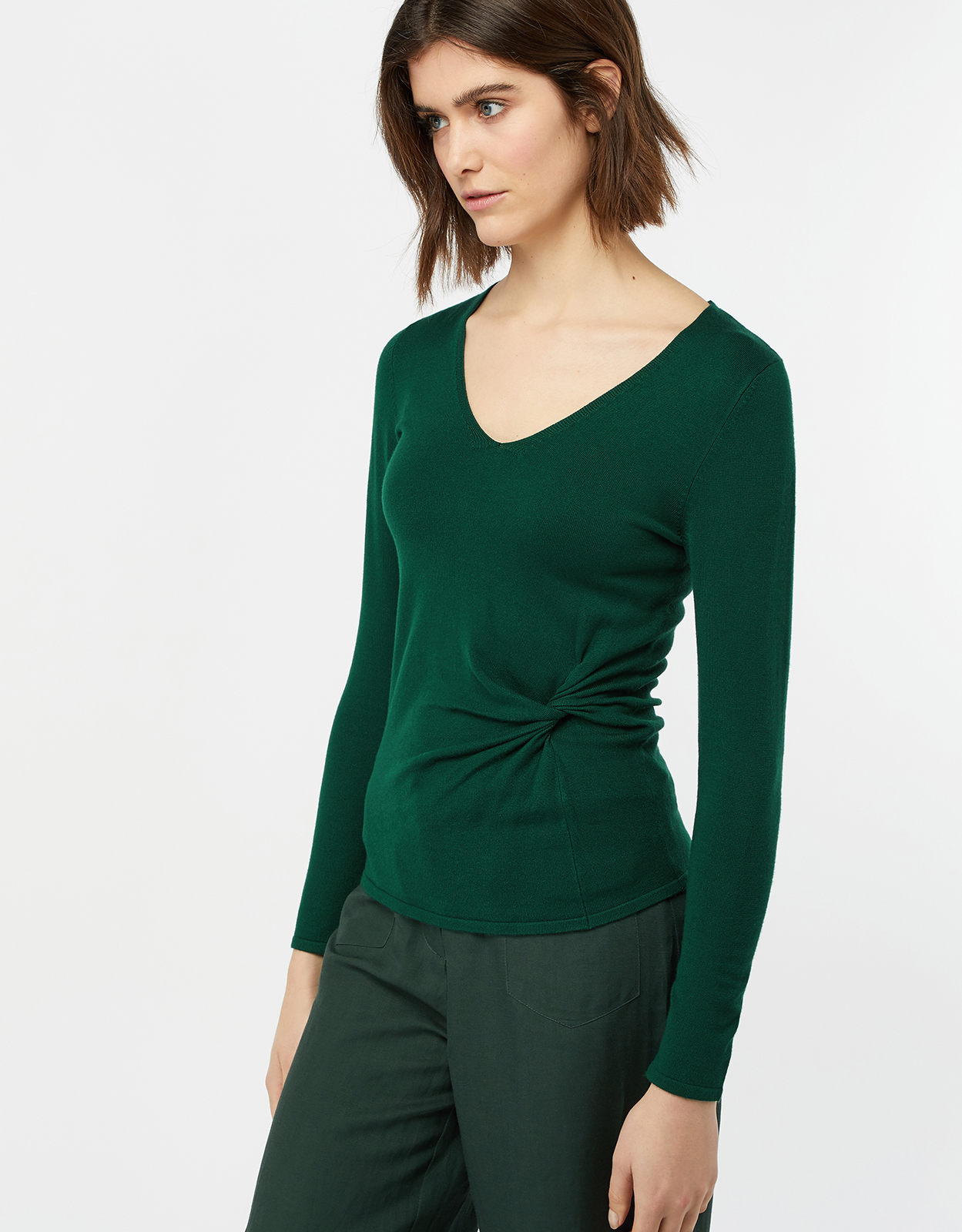 Monsoon Rosalie Ruched V Neck Jumper