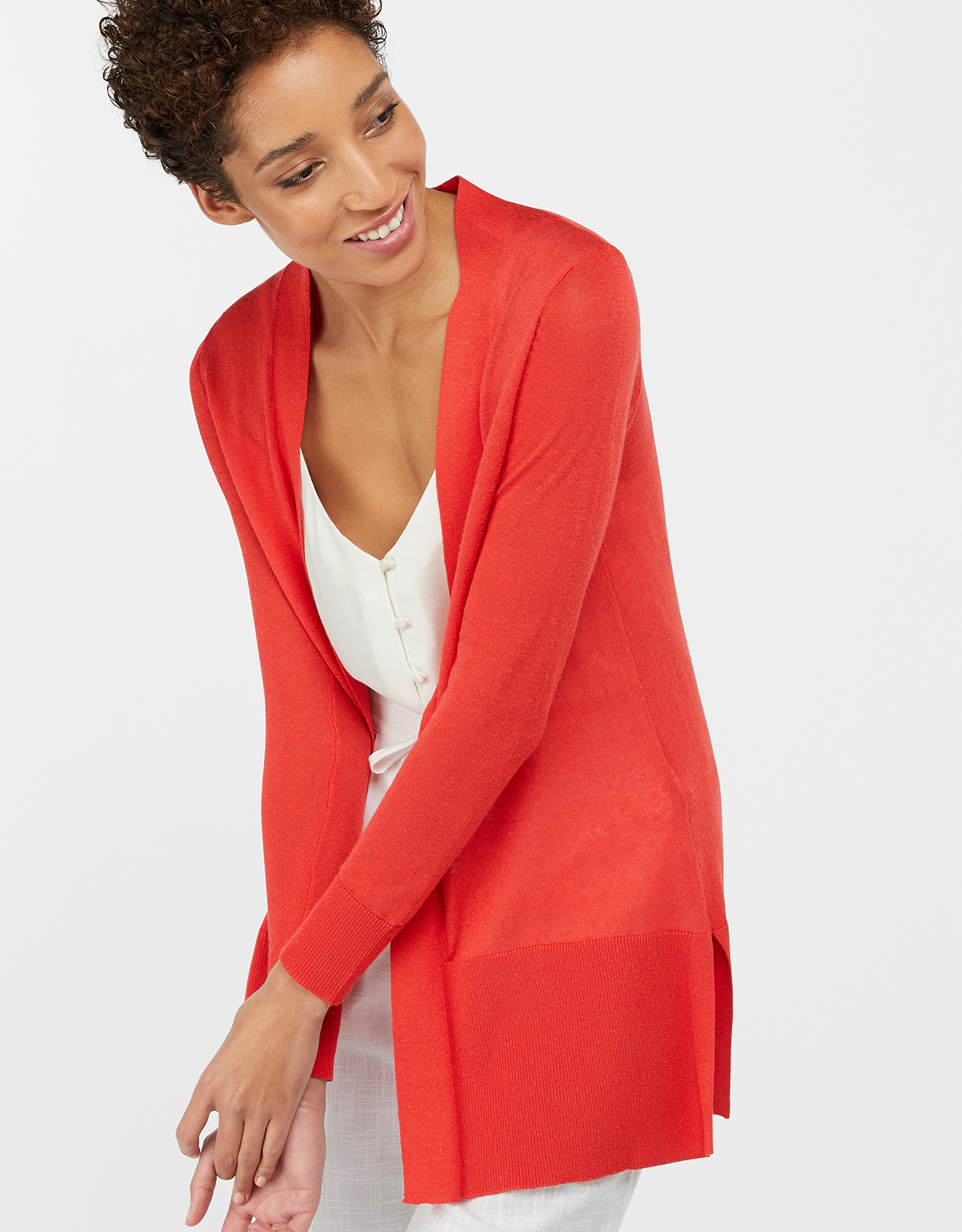 Monsoon Elinor Exposed Seam Linen Blend Cardigan