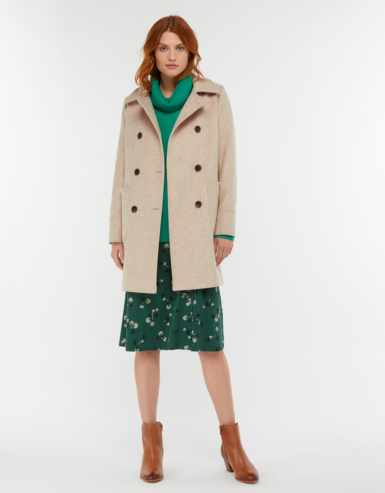 Monsoon Lilly Double Breasted Wool Coat