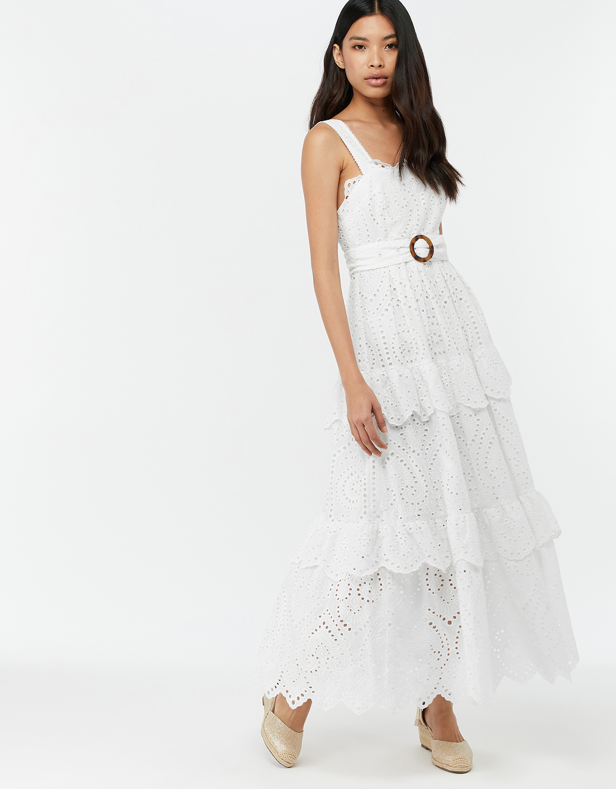 Monsoon Francisca Broderie Cotton Maxi Dress