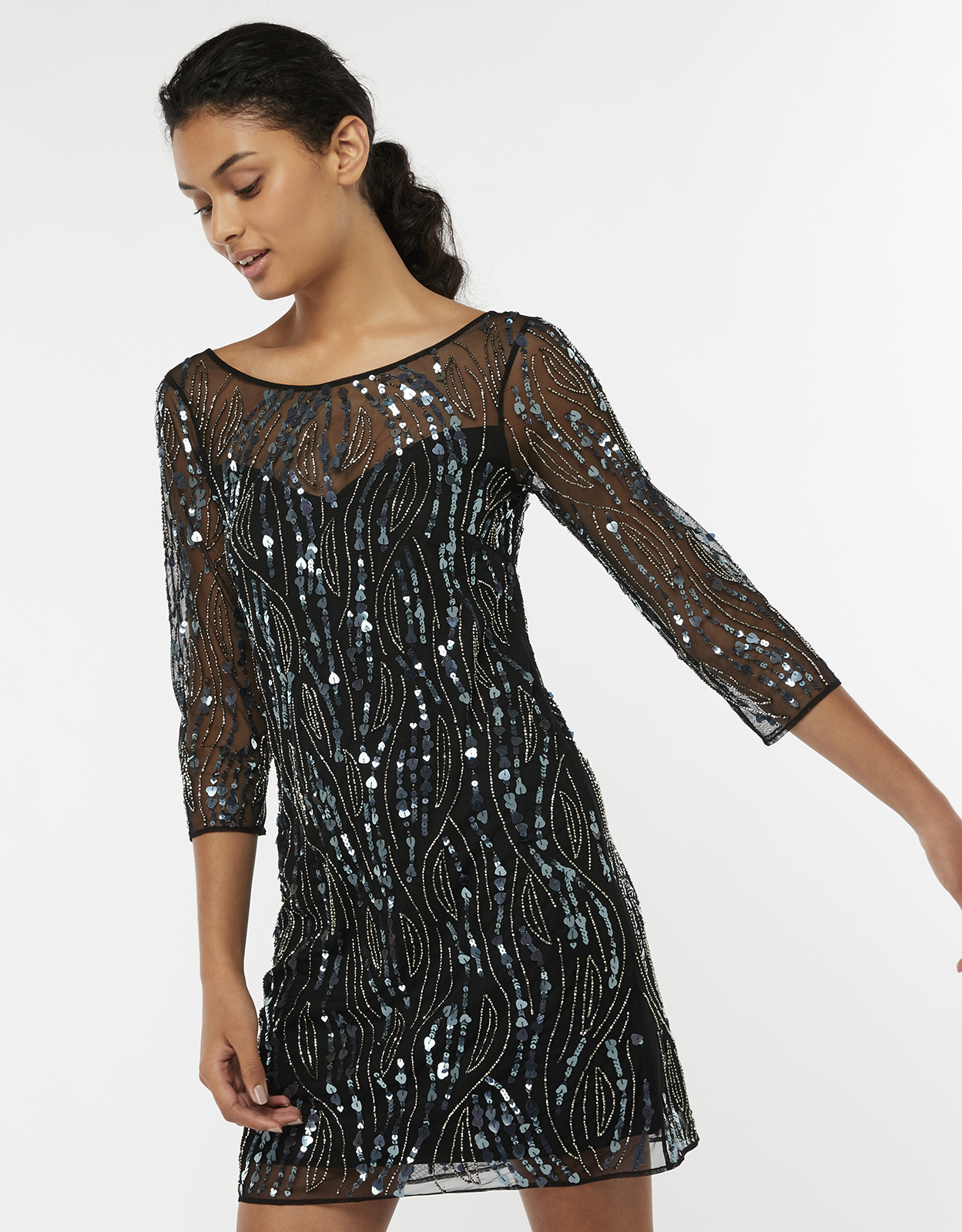 Monsoon Heera Heart Sequin Tunic Dress