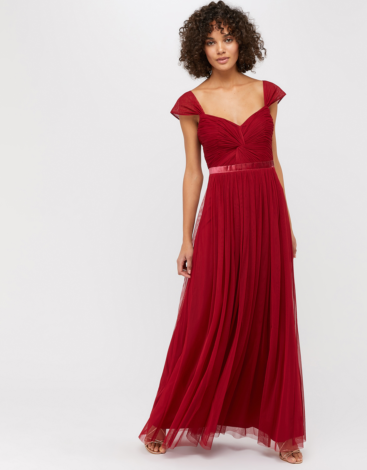 Monsoon Jennifer Ruched Mesh Maxi Dress