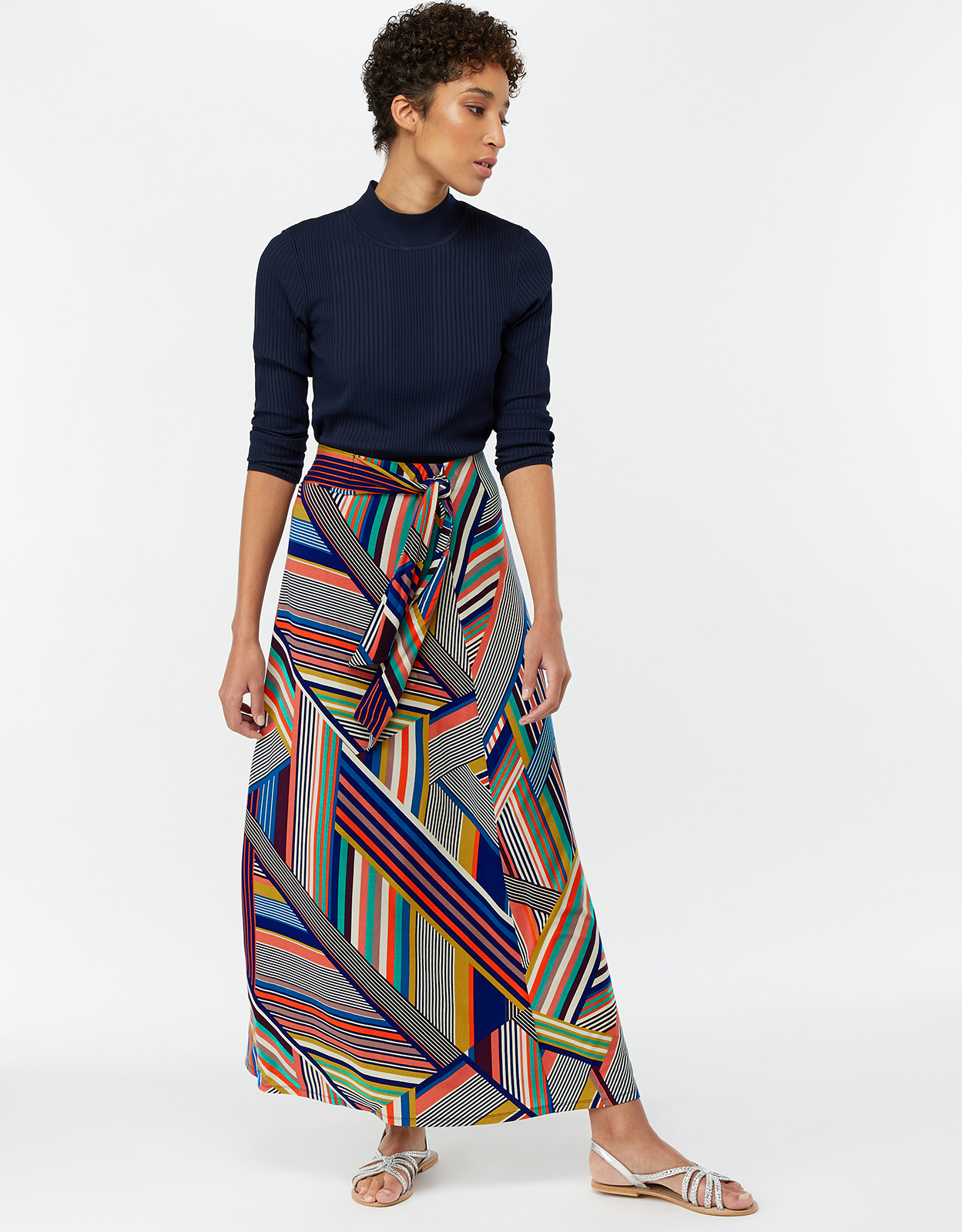 Monsoon Siani Stripe Maxi Skirt