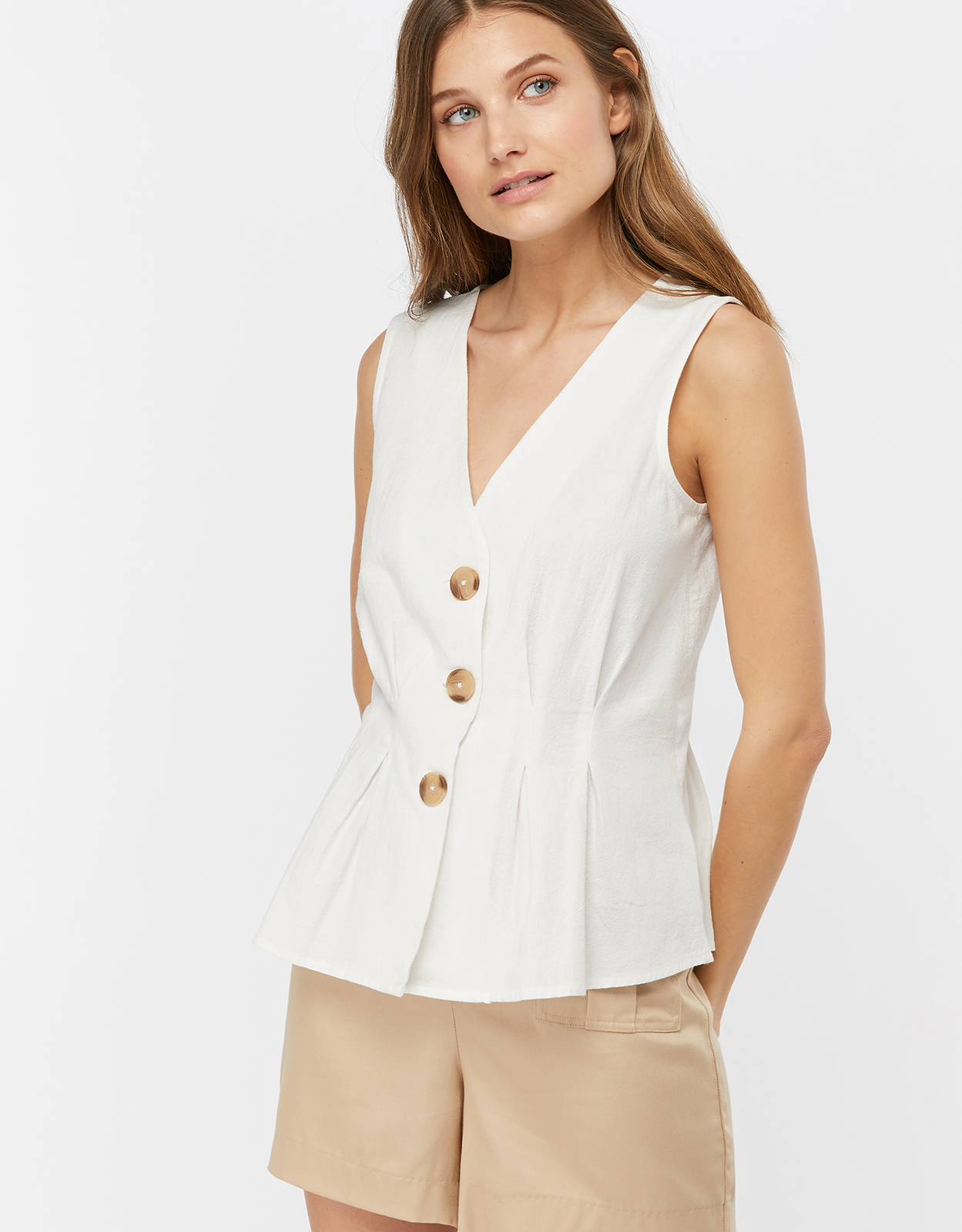 Monsoon Verita Button Cotton Sleeveless Top