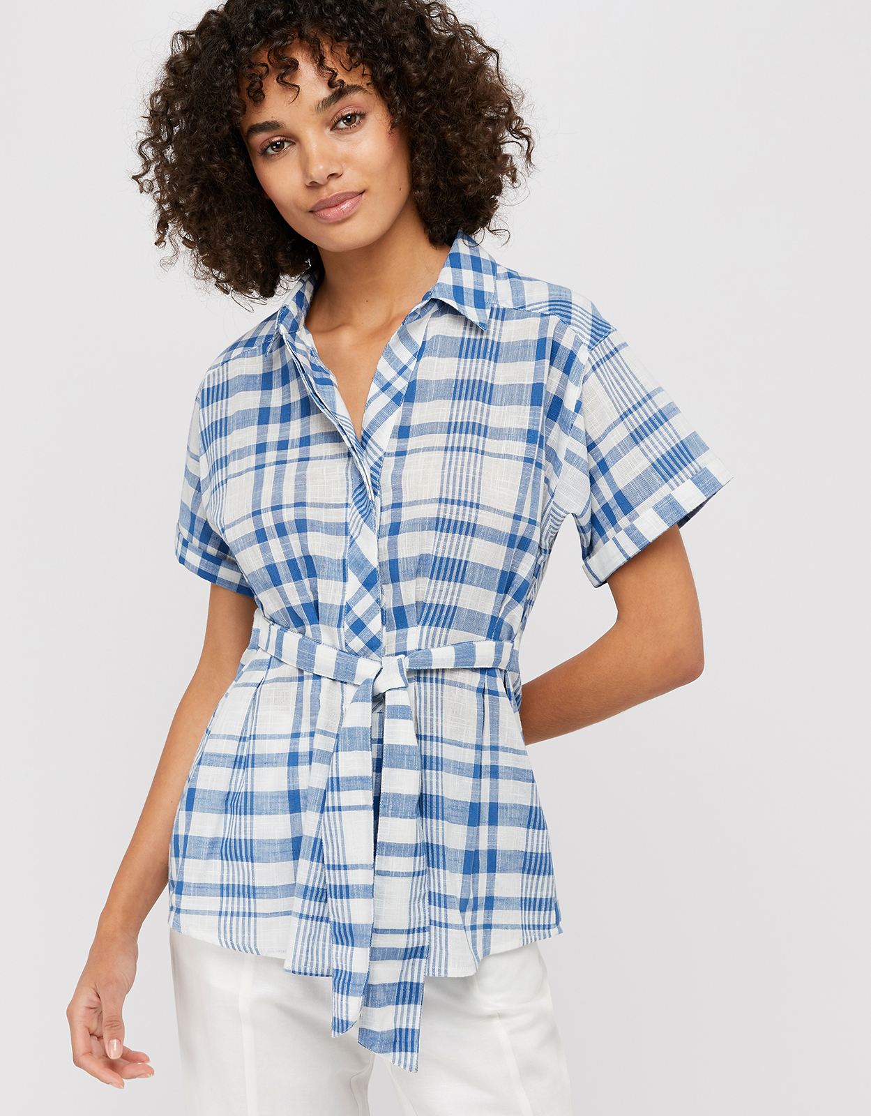 Monsoon Oria Check Cotton Belted Top